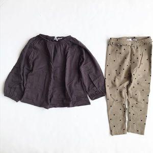 Zara NWT gray/olive top/bottom set 2/3T & 3/4T